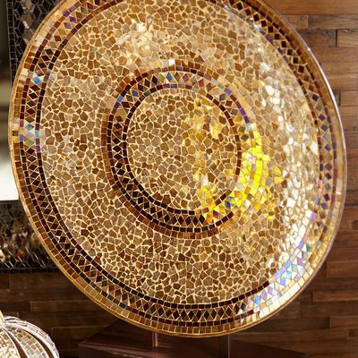 Champagne Decorative Mosaic Platter With Stand Decor Vases Decor Mosaic