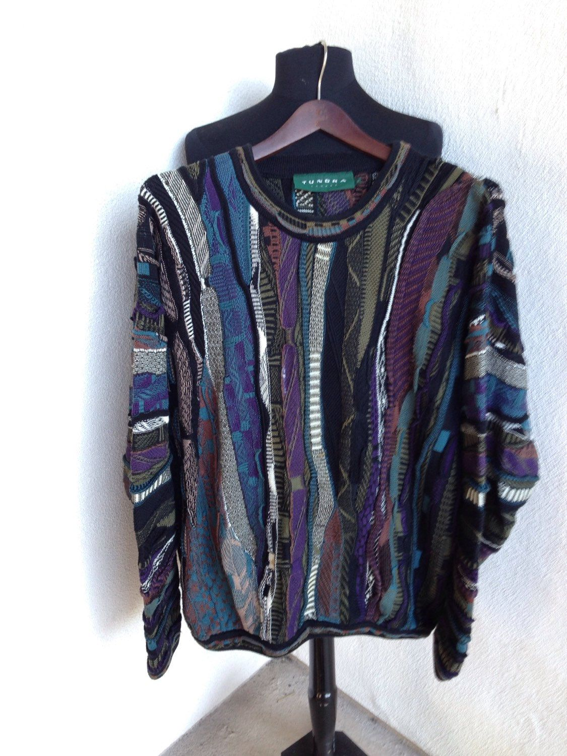 Vintage Mens sweater by Tundra Canada 3D art cotton multi