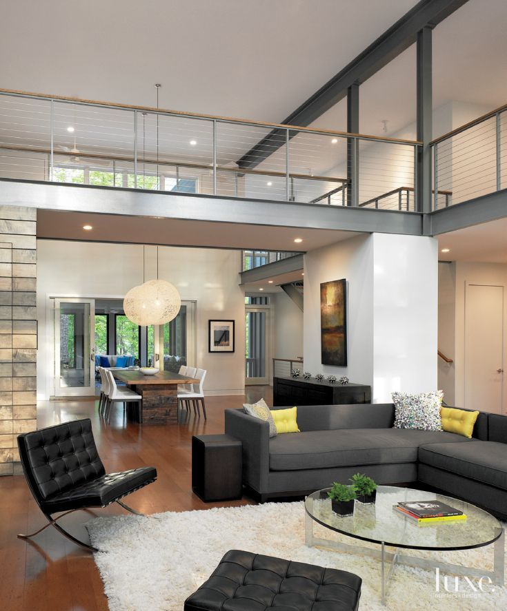 Modern Home Architecture Interior Designs With Columns: Modern White Great Room With Exposed Steel Beams