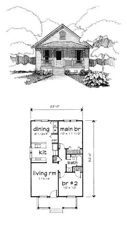 Bungalow Style House Plan 72772 With 2 Bed 1 Bath Tiny House Plans Bungalow Style House Plans Bungalow House Plans