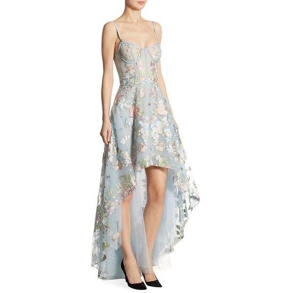44a3fda3 Marchesa Notte Embroidered Tulle Hi-Lo Gown ($1,095) ❤ liked on Polyvore  featuring dresses, gowns, hi low dress, high low gown, white dress, skater  skirt ...
