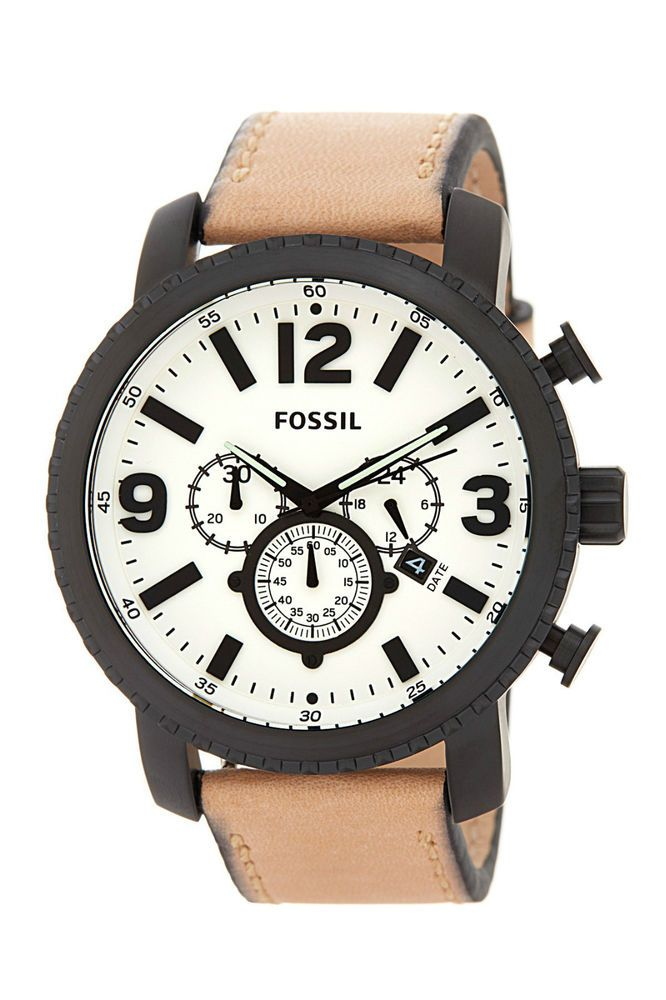 Fossil Men apos s Gage Watch BQ2051 Tan Leather Band Black Case White Face   4e0870b949