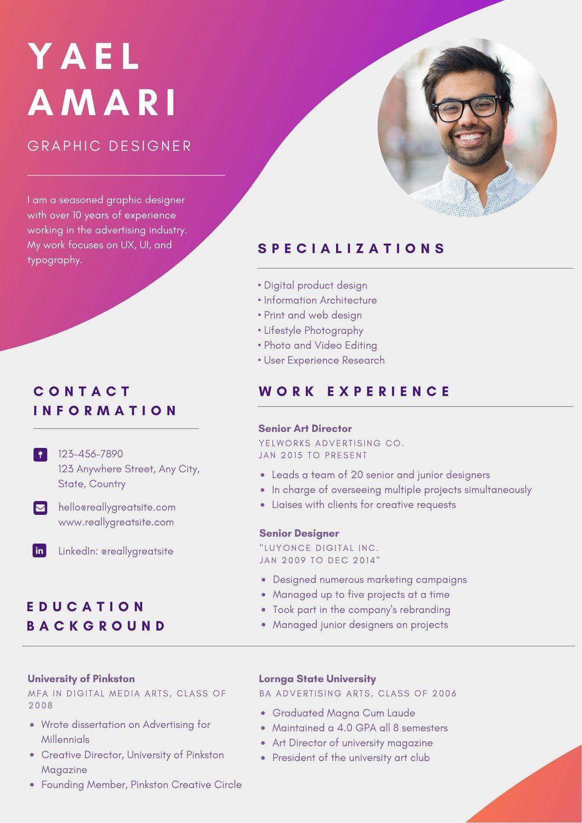 Colorful Gradient Graphic Designer Resume Templates By Canva Ad Graphic Graphic Design Resume Graphic Designer Resume Template Graphic Design Curriculum