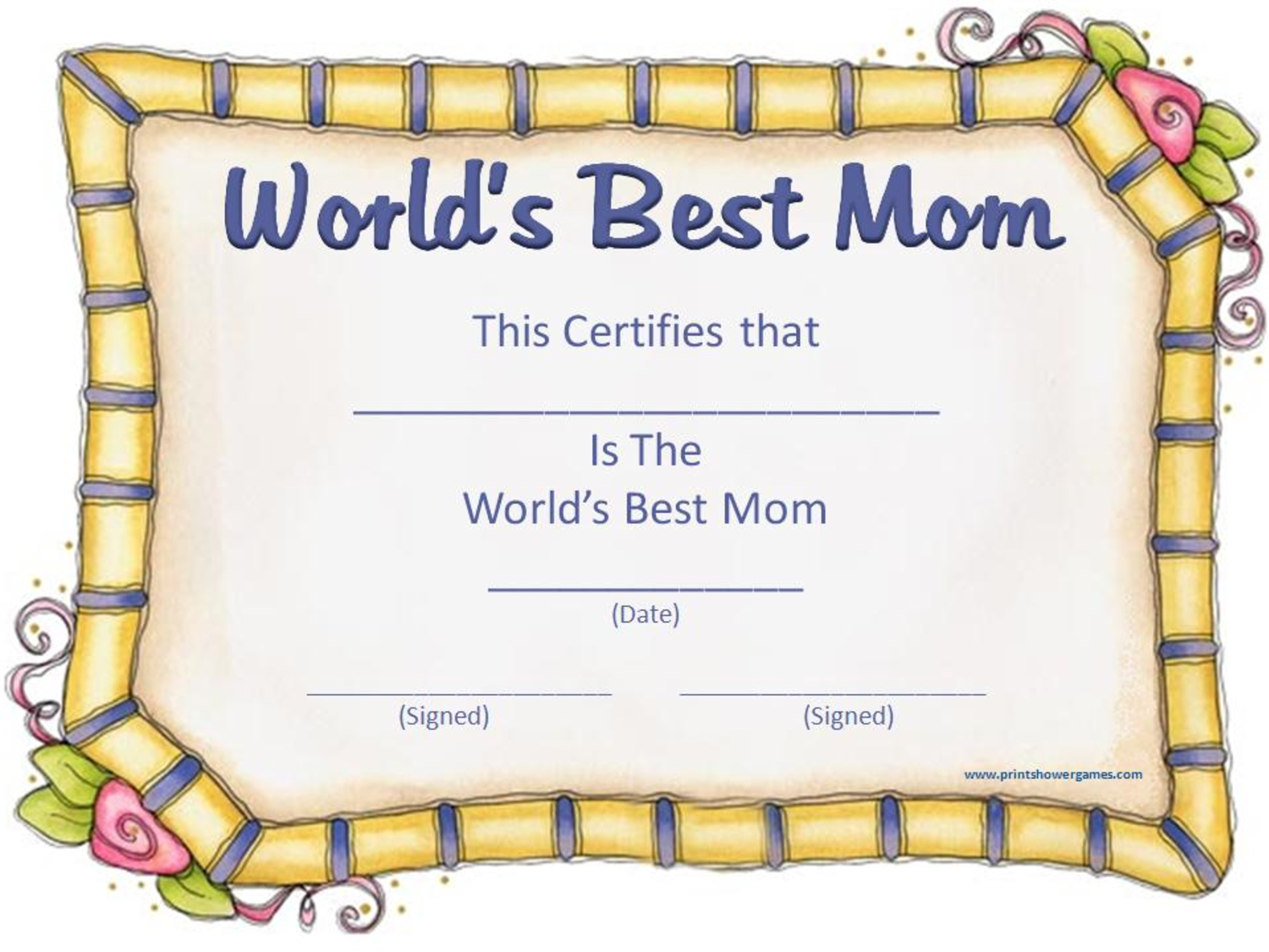 Mothers Day Printable Certificate