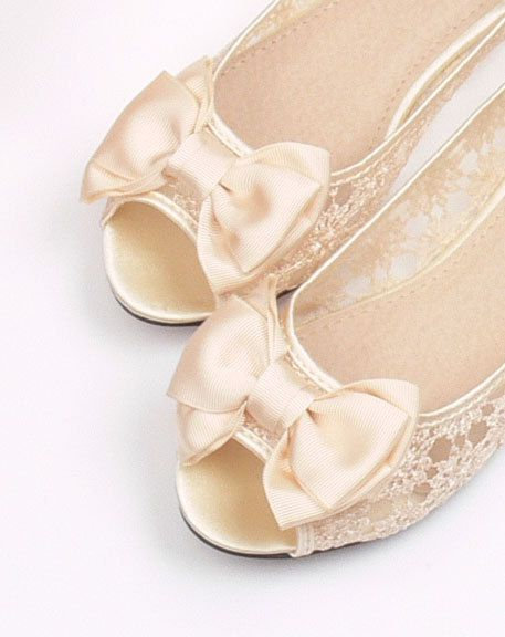 Handmade Open Toe Fish Mouth Lace Bow Wedding Shoes Ballet Flat Bridal Heel