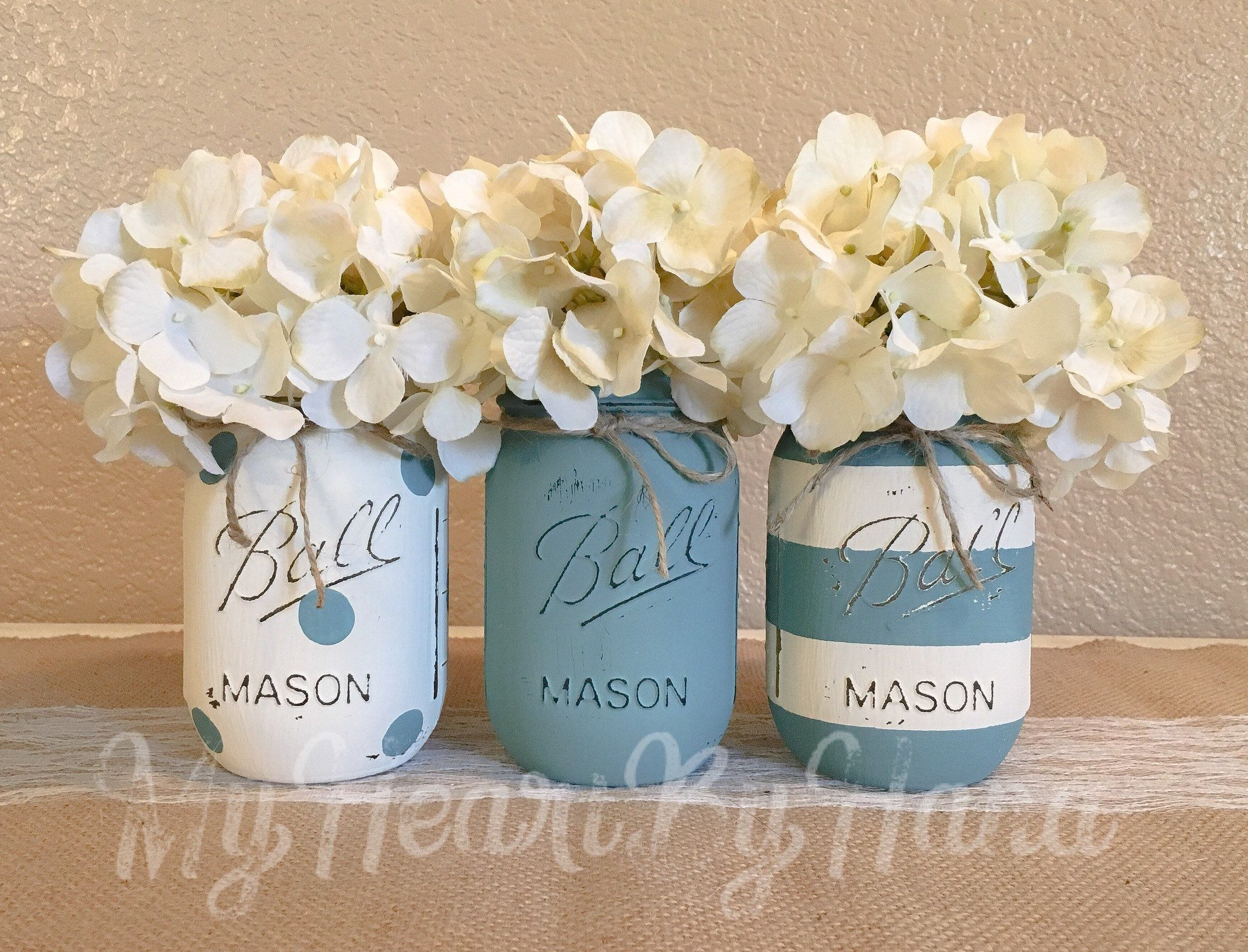Wedding decorations home  Teal and White Home Decor Baby Shower Decorations Teal Mason Jars