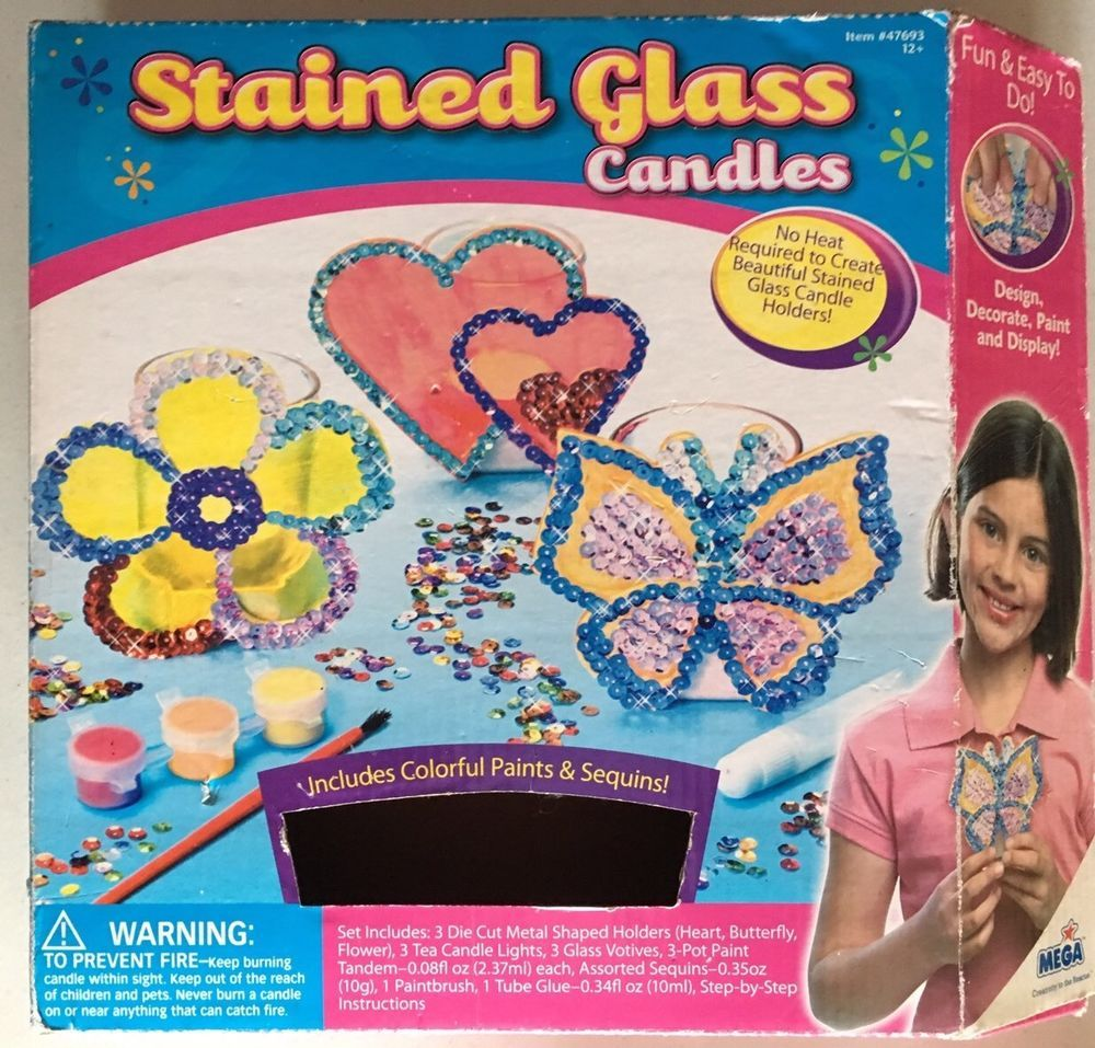 Kids Craft Kit Stained Glass Candles With Glass Votives  Mega