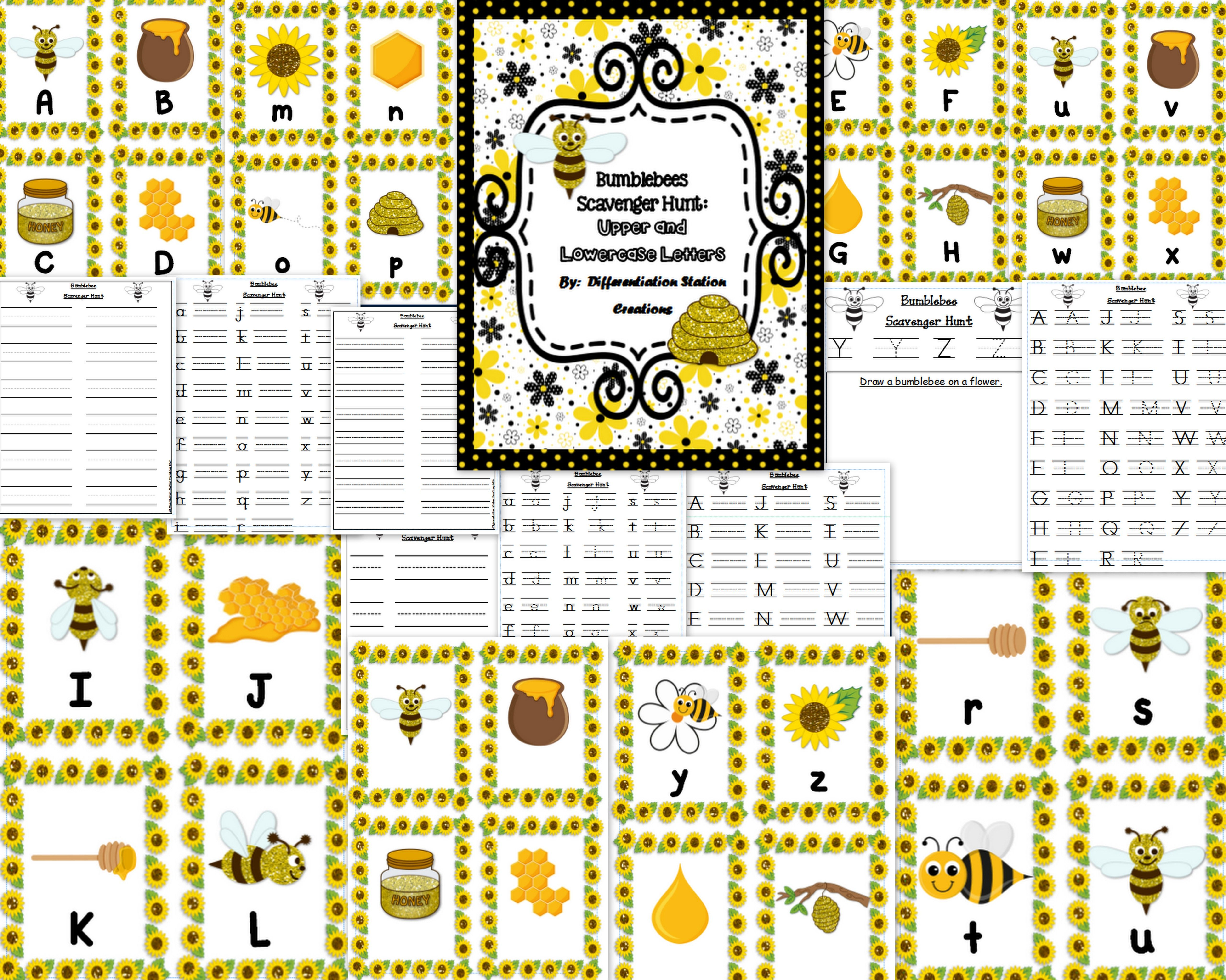 Bumblebees Alphabet Scavenger Hunt Upper And Lowercase Centers Amp Printables