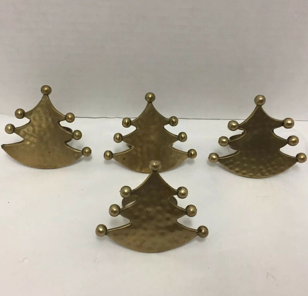 Spode Christmas Tree Candle Holder: Christmas Tree Napkin Holders Rings Set Of 4 Brass Vintage
