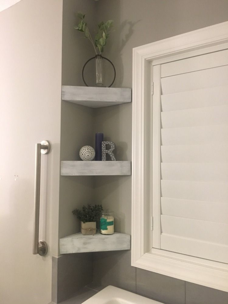 Bathroom chunky corner floating shelf farmhouse bathroom
