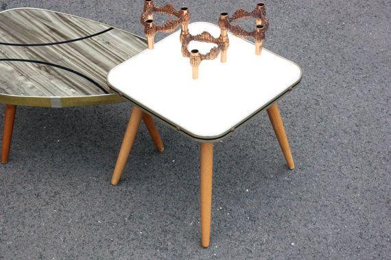Creme Blumenhocker Alter Hocker Kleiner Tisch Beistelltisch