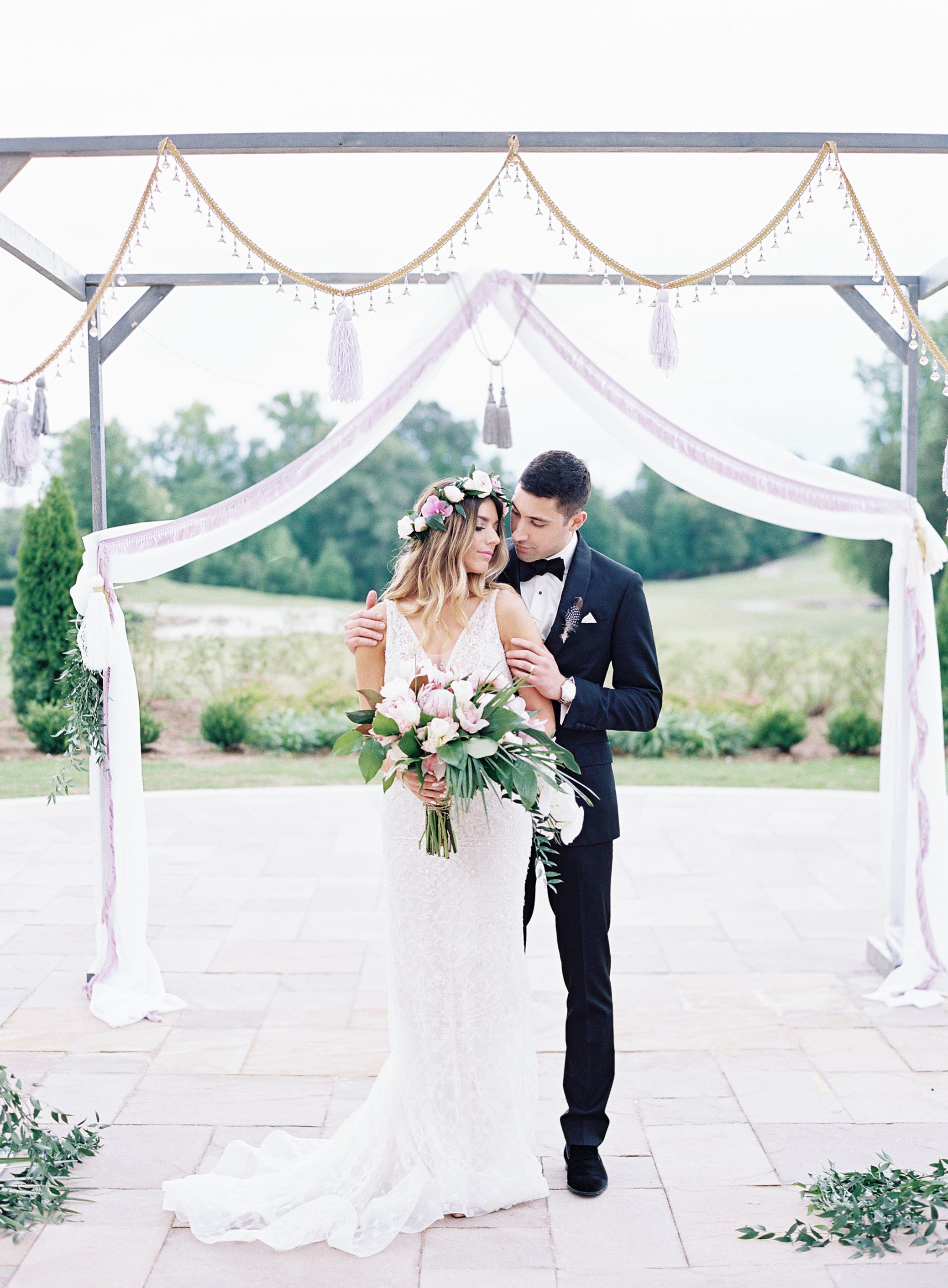 Purple gold and boho glam see the wedding that pulled it off