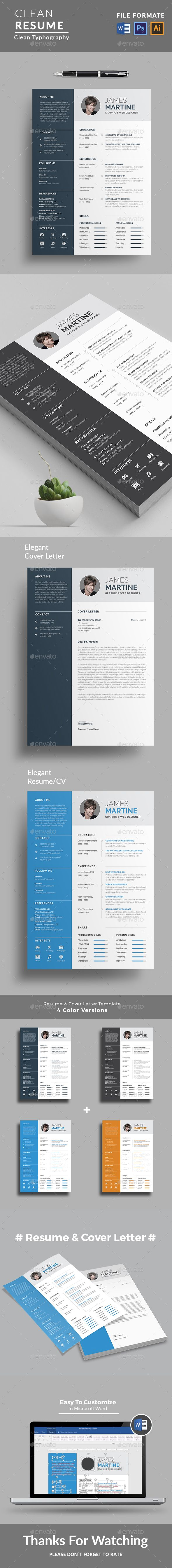Professional #Resume Word/Indesign Template. Elegant page designs ...