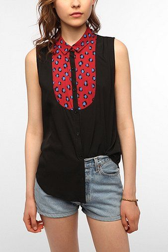Cooperative Contrast Bib Sleeveless Blouse - would love to buy this but not sure if I would look good in it