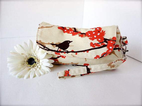 Perfect Clutch with wristlet - Joel Dewberry Aviary 2 Sparrows in Bark on Etsy, $25.00