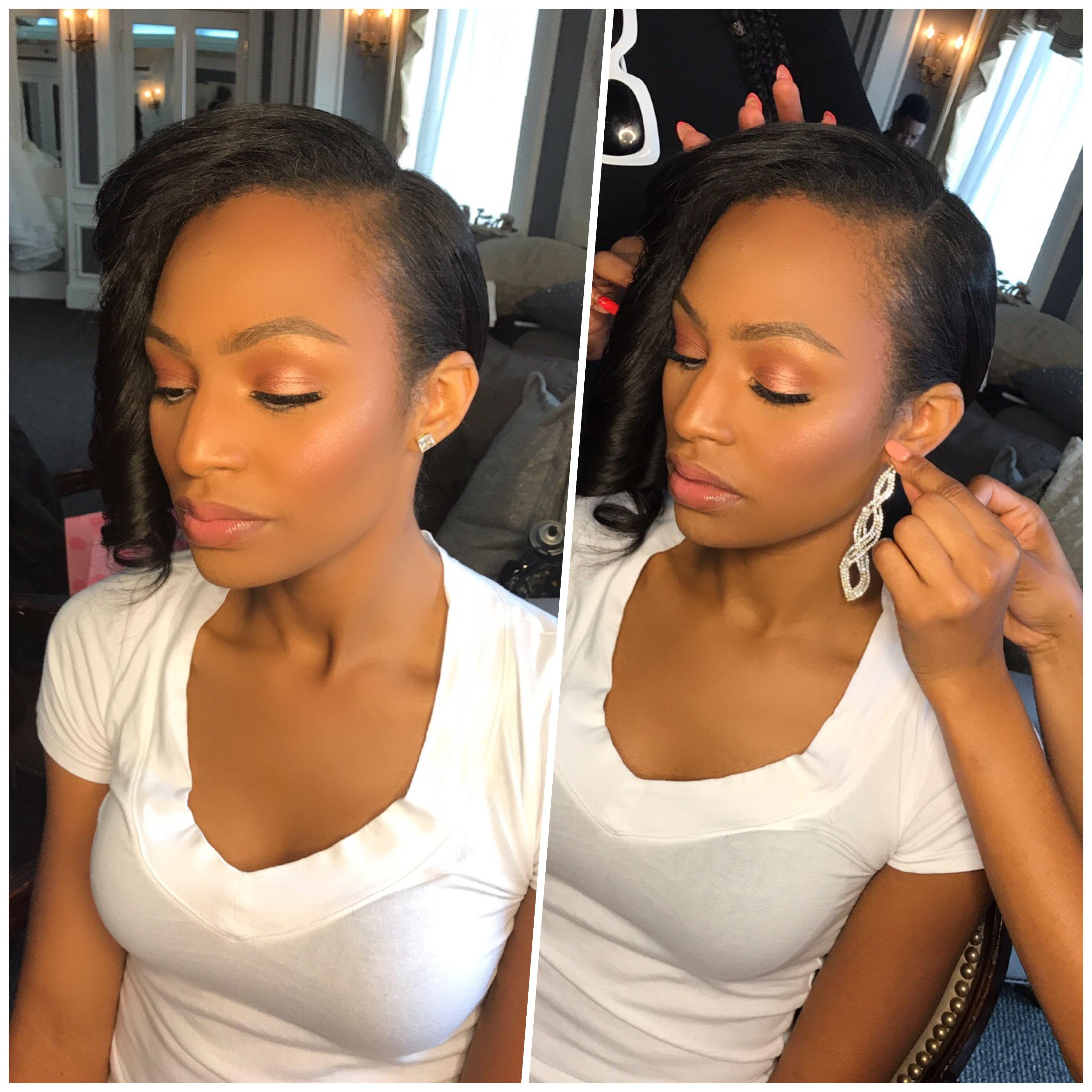 Wedding makeup. Natural makeup. Bridal makeup. Wedding day. Black ...