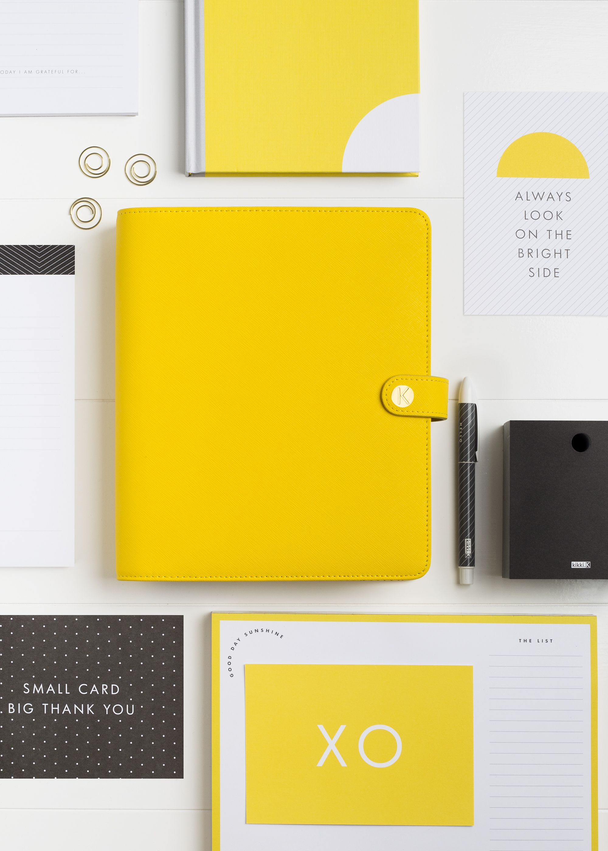 Look on the bright side with this kikkik yellow personal planner