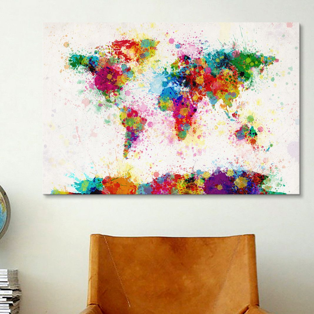 Icanvasart world map paint drops iii by michael tompsett icanvasart world map paint drops iii by michael tompsett painting print on canvas gumiabroncs Images