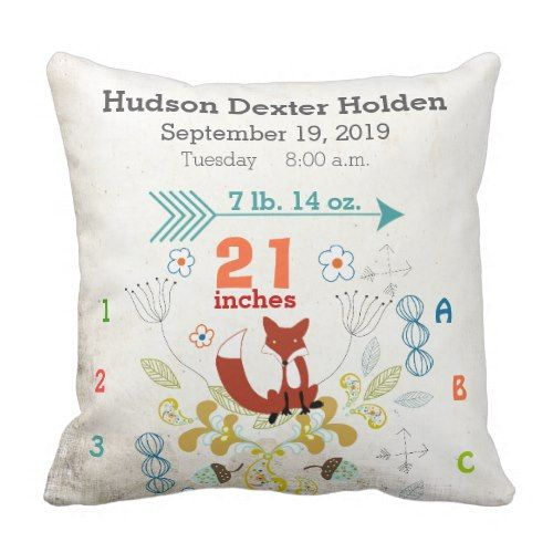 Boy Nursery Baby Birth Stat Fox Arrow Pattern Throw Pillow With Images Baby Nursery Pillow New Baby Products Baby Throw Pillows