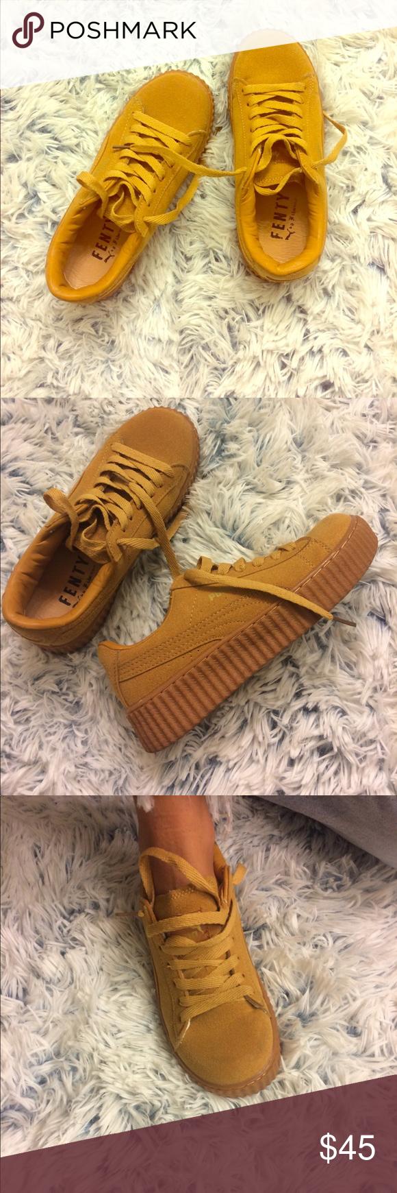Fenty by Rihanna Puma Creepers Like new! Mustard color. Puma Shoes Sneakers ba91b60ec