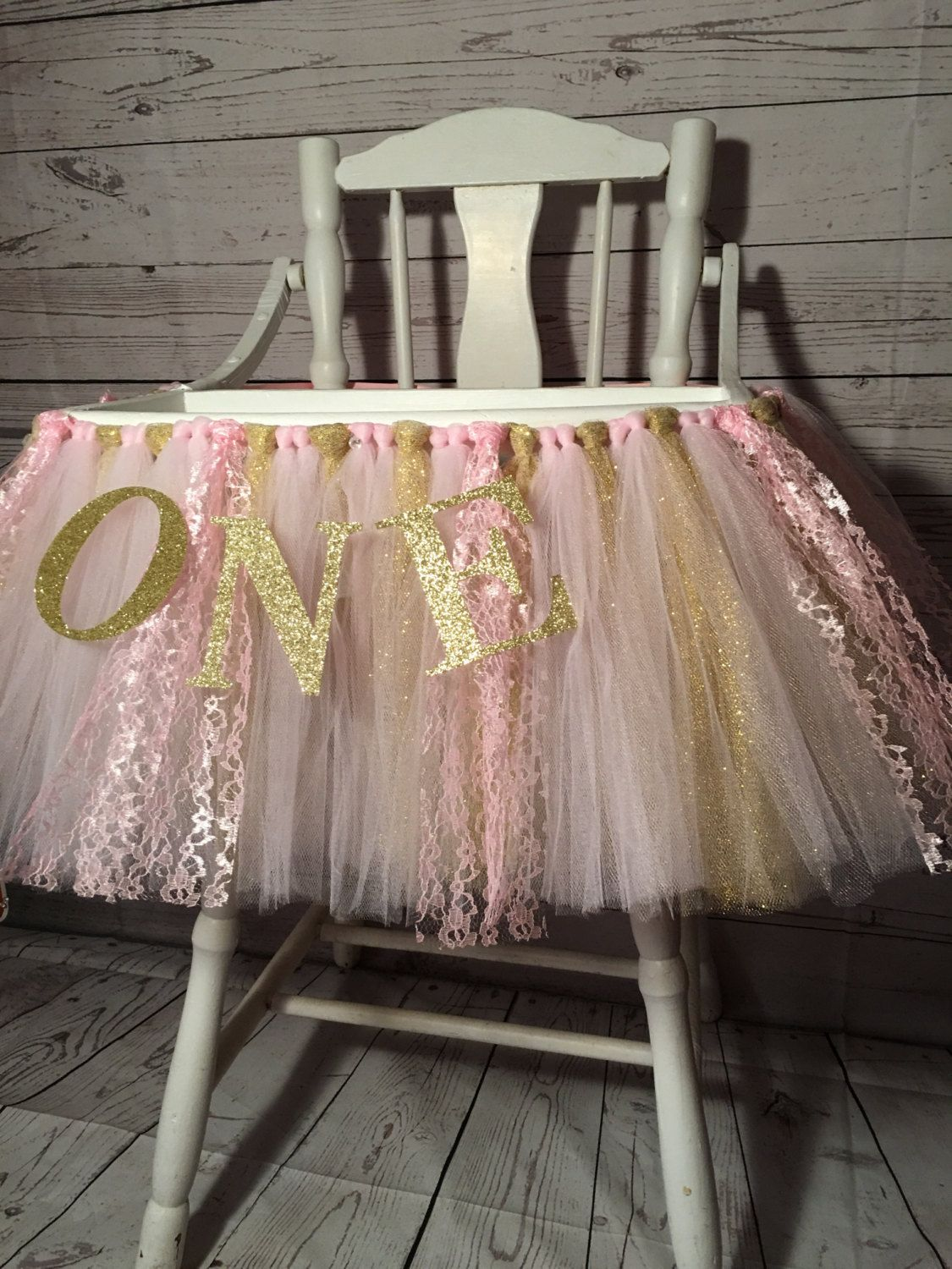 Pink And Gold High Chair Tutu High Chair Skirt Highchair Etsy Baby Girl First Birthday Girl Birthday Baby First Birthday