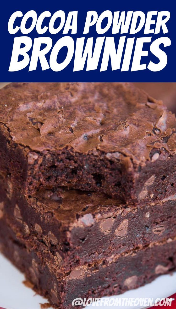 Easy Brownies Made With Cocoa Powder • Love From The Oven