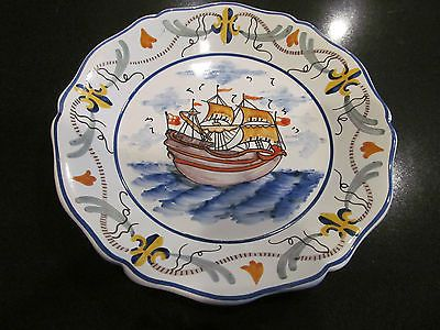 Lovely French Quimper Vintage Sailing SHIP Plate Made in France Pierre Deux | eBay & lovely french Quimper vintage sailing ship plate made in France ...