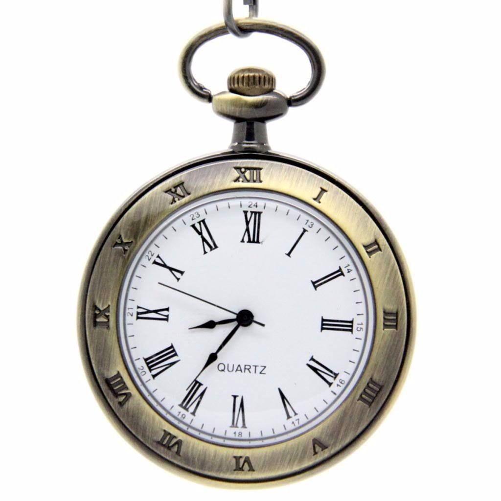 bdd6fce860c Relógio De Bolso - Bronze C Branco Escritas Em Romano Quartz - R  64 ...