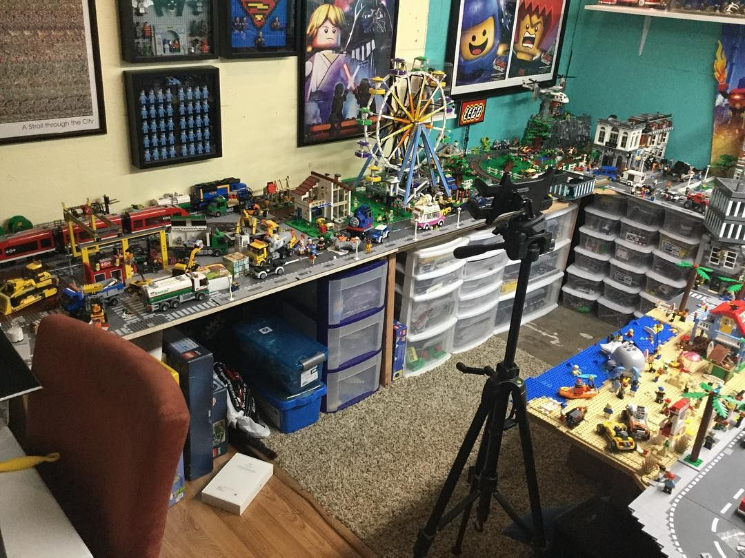 I Just Uploaded A Lego Room Tour Link In Bio Lego Afol Toy Legos Legocity Mancave Justanothertoygroup Toyphotography Lego Room Room Tour Lego