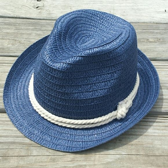 b0a3279e593d7 Navy straw fedora Super cute! I just don t love the way this style ...