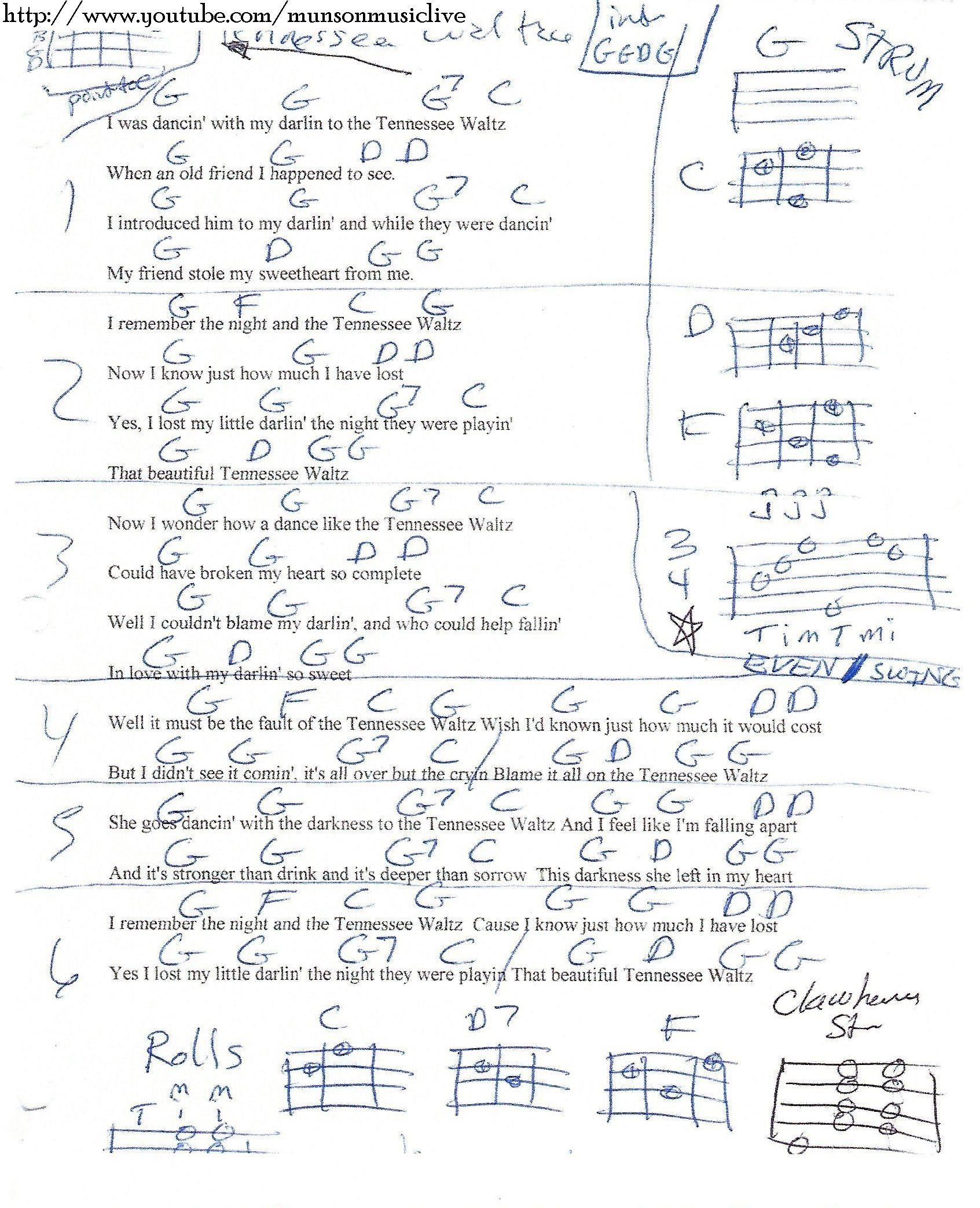 Tennessee Waltz Guitar Chord Chart In G Guitar Lesson Chord