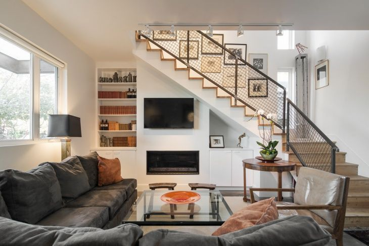Contemporary Living Room Stair Design Stairs In Living Room | Interior Steps Design For Hall | Modern Drawing Room Tv Cabinet | Decorative | Architecture | Half Circle Staircase | Model House Hall