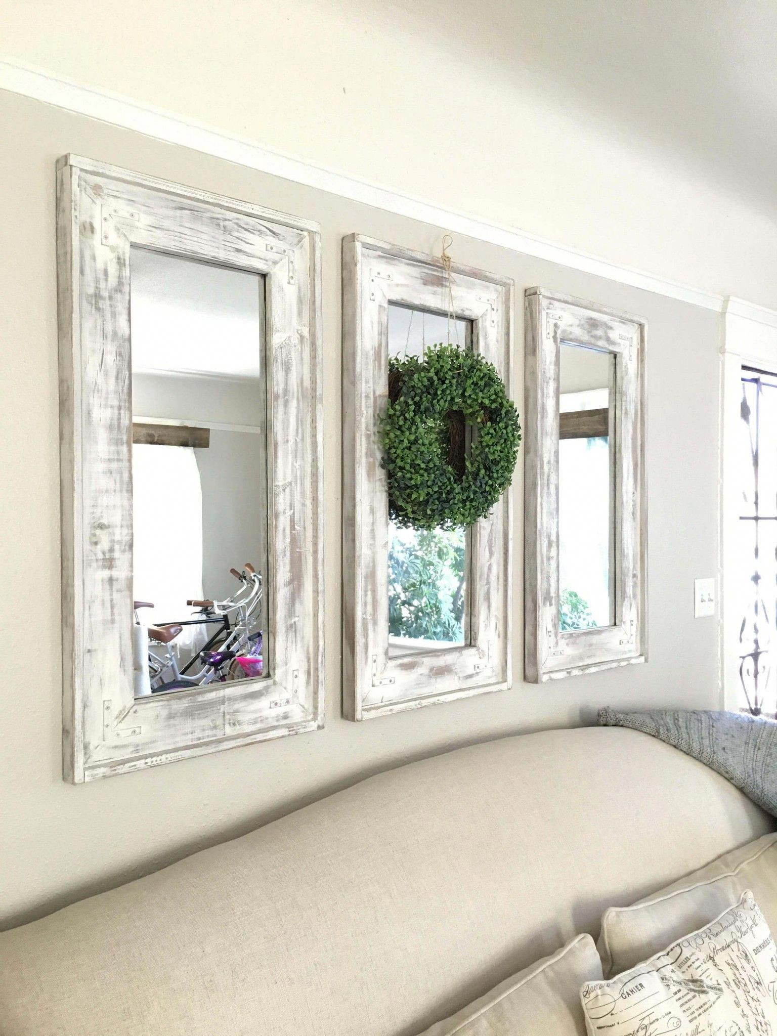 Triad Of Narrow Whitewashed Mirrors Accented With Eucalyptus Wreath Sha Farm House Living Room Farmhouse Kitchen Design