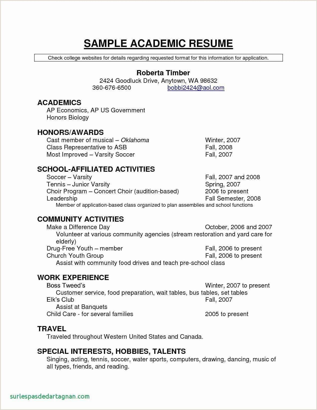 Standard Format Of Cv For Job Application Student Resume