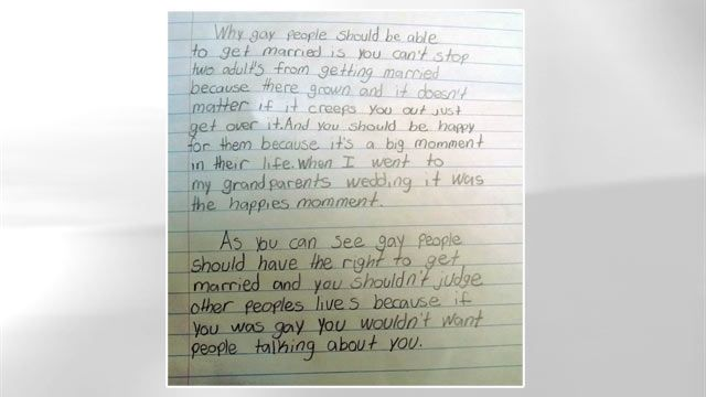 th graders pro gay marriage essay goes viral  parenting   fourth graders pro gay marriage essay goes viral   abc news