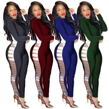 0d921da79e0 Sexy Women Black Bodycon Jumpsuit Long Sleeve Tight Bodysuit Side Hollow  Outliilgal