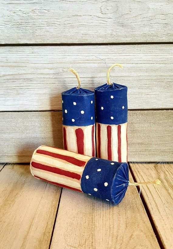 Primitive Americana Bowl Fillers Flag Fire Cracker Star Hat ornies Paper Patten
