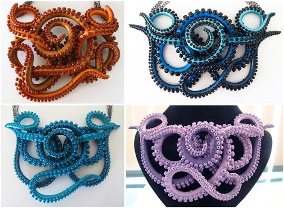 Tentacle Necklace Extra Large Custom Order by WalkingSquid on Etsy KAITY O'SHEA