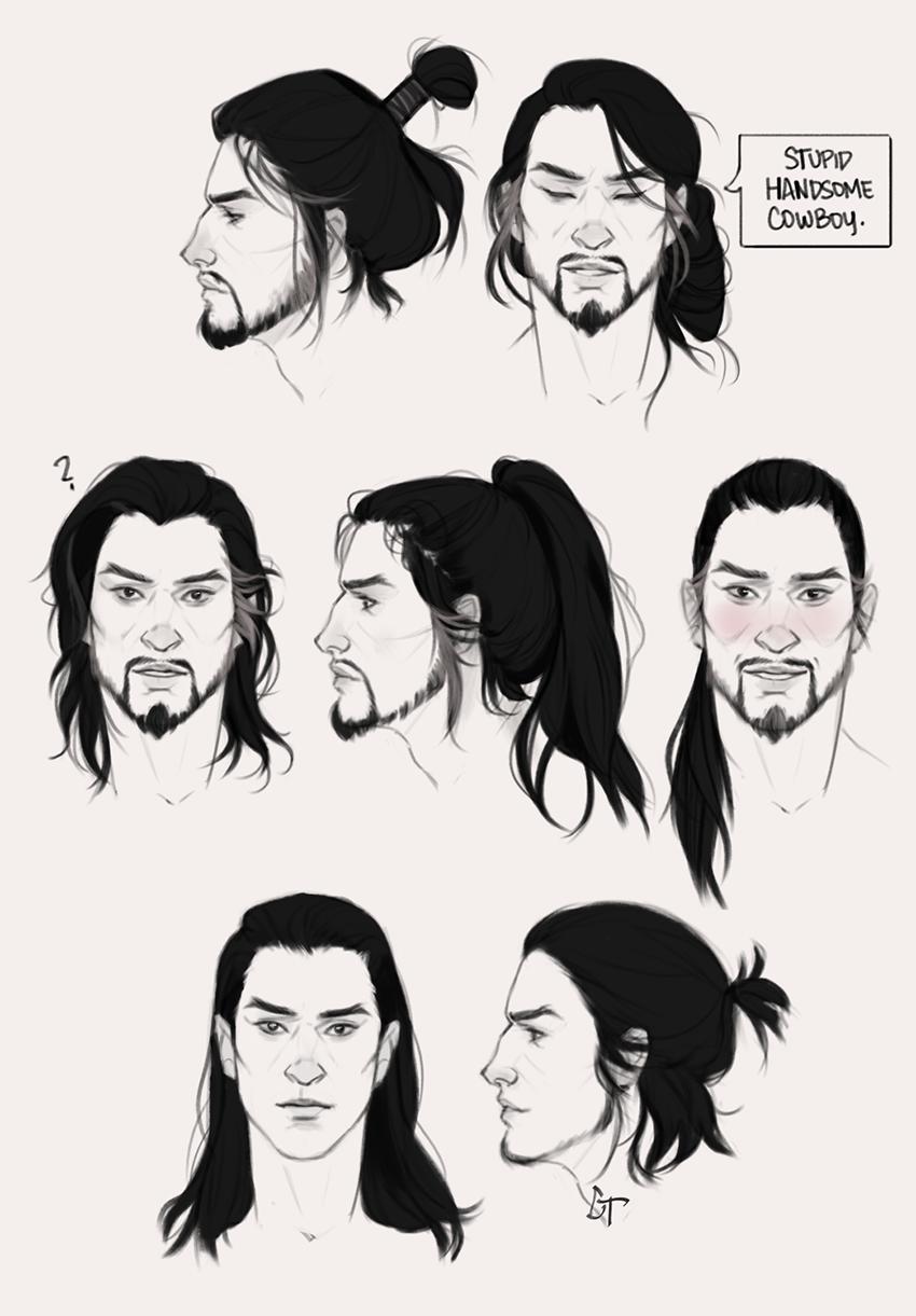 I Can T Stop Drawing Long Hair On Guys Hanzo ˌart ˈdɛkoʊ In 2020 Long Hair Drawing Hair Sketch How To Draw Hair