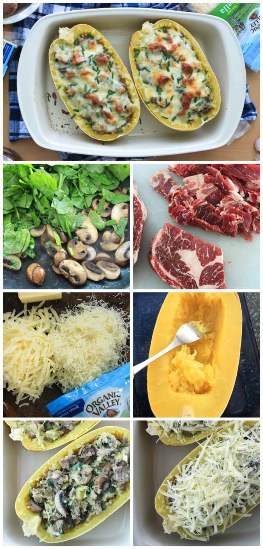 Garlic Steak and Cheddar Stuffed Spaghetti Squash