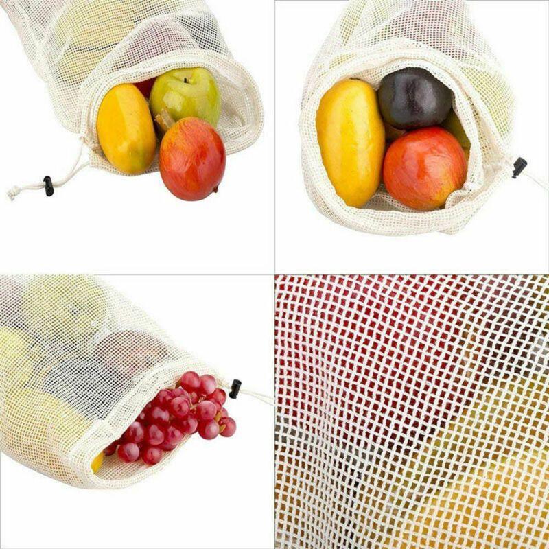 Reusable Cotton Drawstring Mesh Fruit Bag Grocery Fruit Storage Shopping Bags