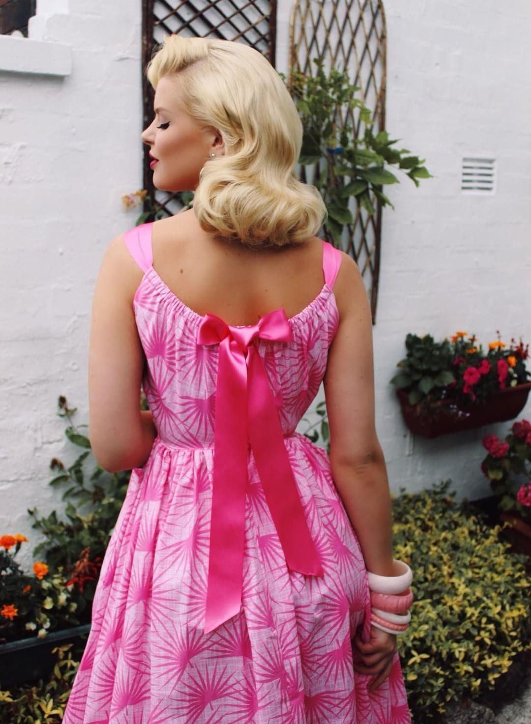 Pink Palm Springs print 1950s repro vintage dress with back