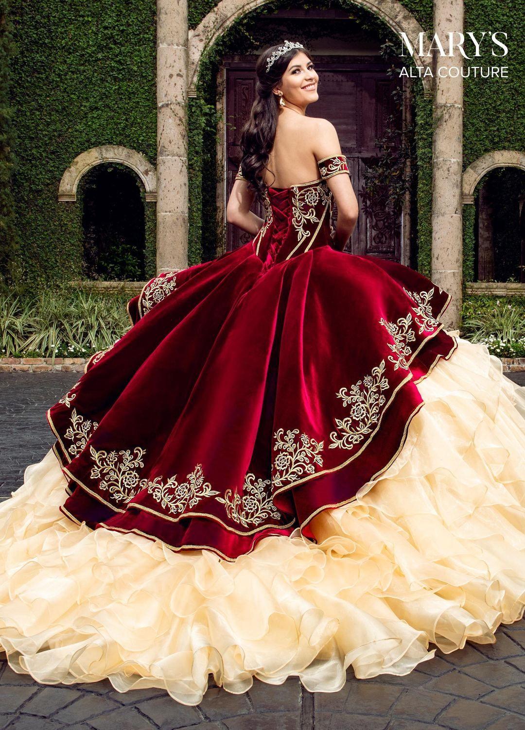 Velvet Charro Quinceanera Dress By Alta Couture Mq3037 Red Wedding Dresses 15 Dresses Quinceanera Quincenera Dresses [ 1503 x 1080 Pixel ]