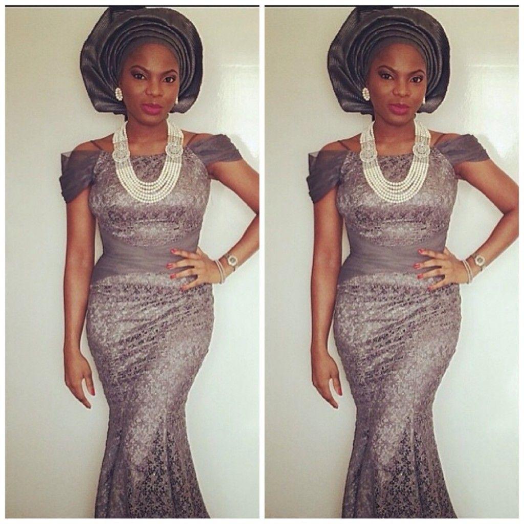 Grey lace dress with Nigerian Gele (head tie)
