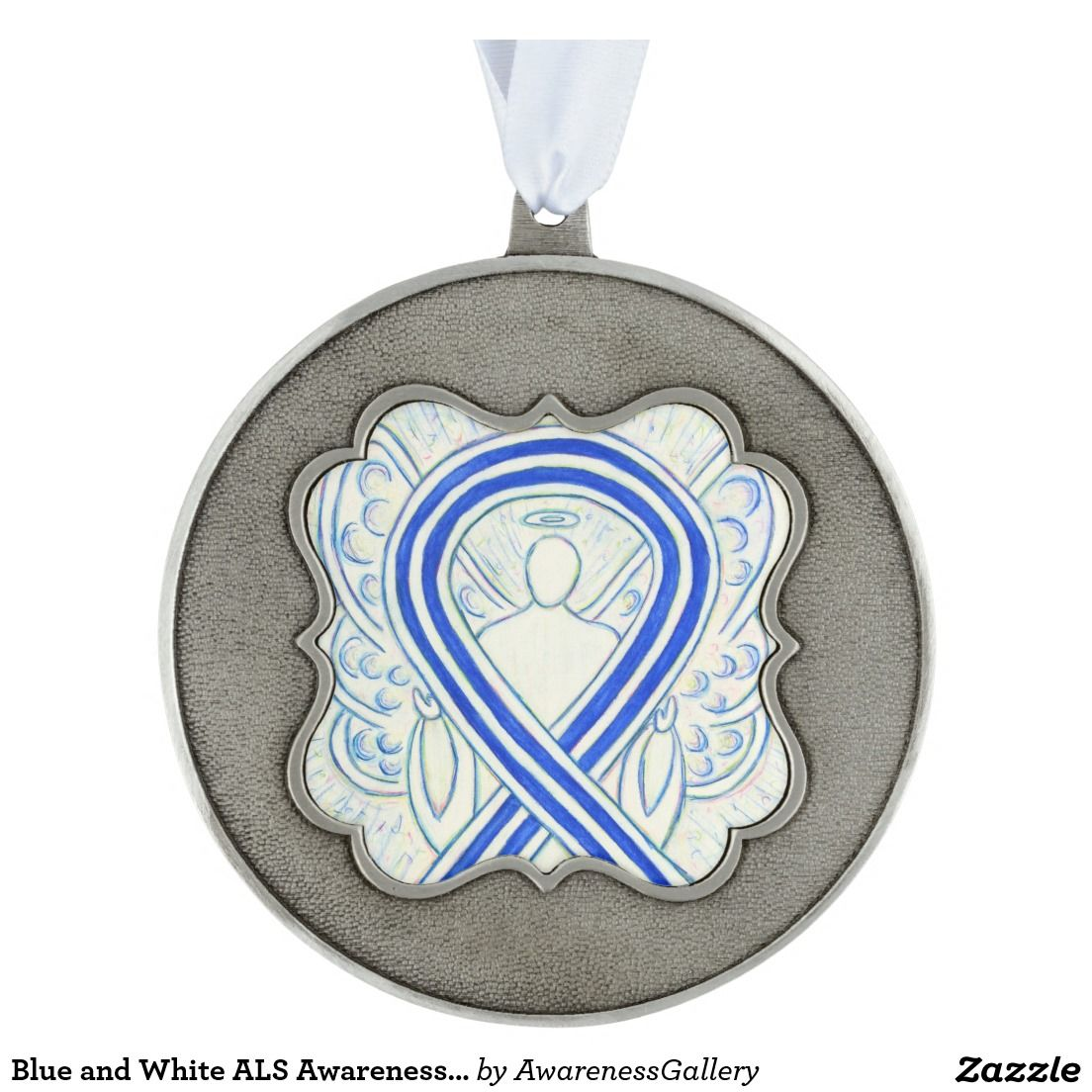 Blue and White ALS Awareness Ribbon Angel Ornament | Amyotrophic