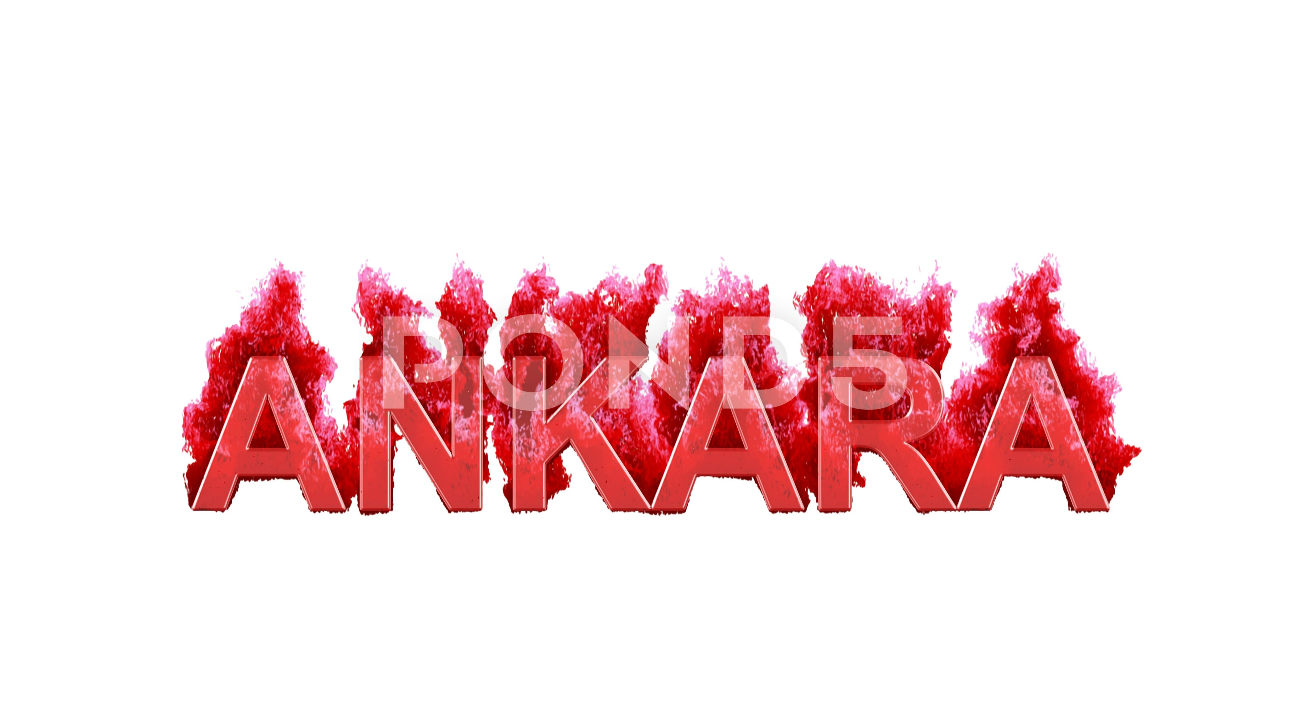 Capital name ANKARA burns dark fire on a white background Alpha channel Stock Footage darkfireburnsCapital