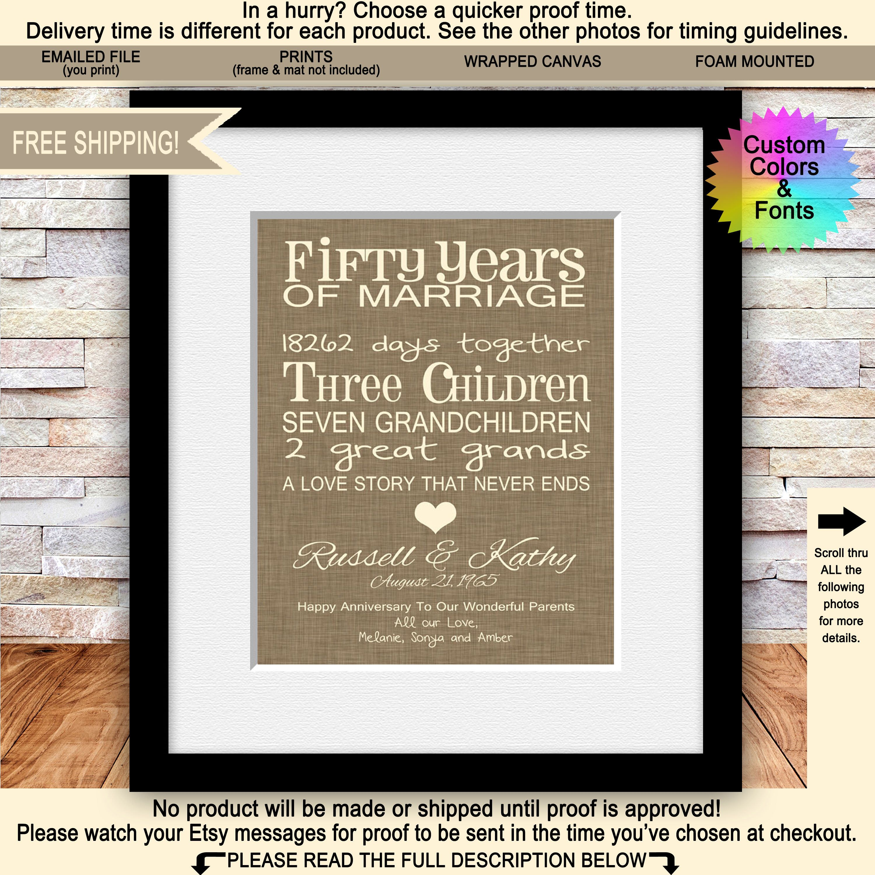 50th Anniversary Gifts for Parents Fun 50th Wedding Etsy
