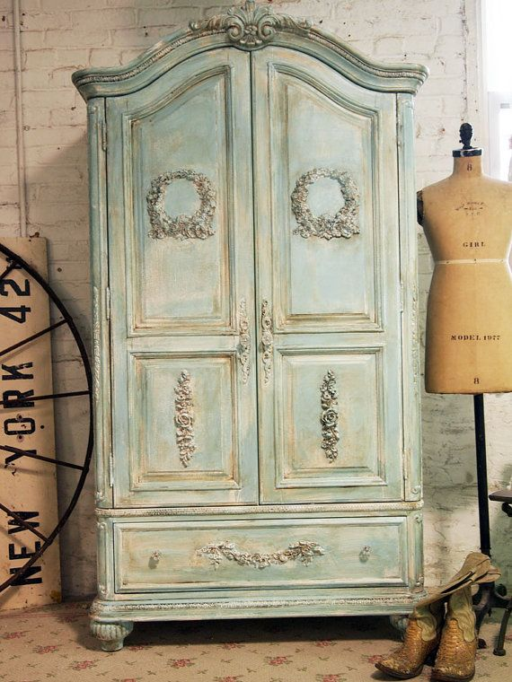 Painted Cottage Chic Shabby Aqua Romantic by paintedcottages, $1295.00
