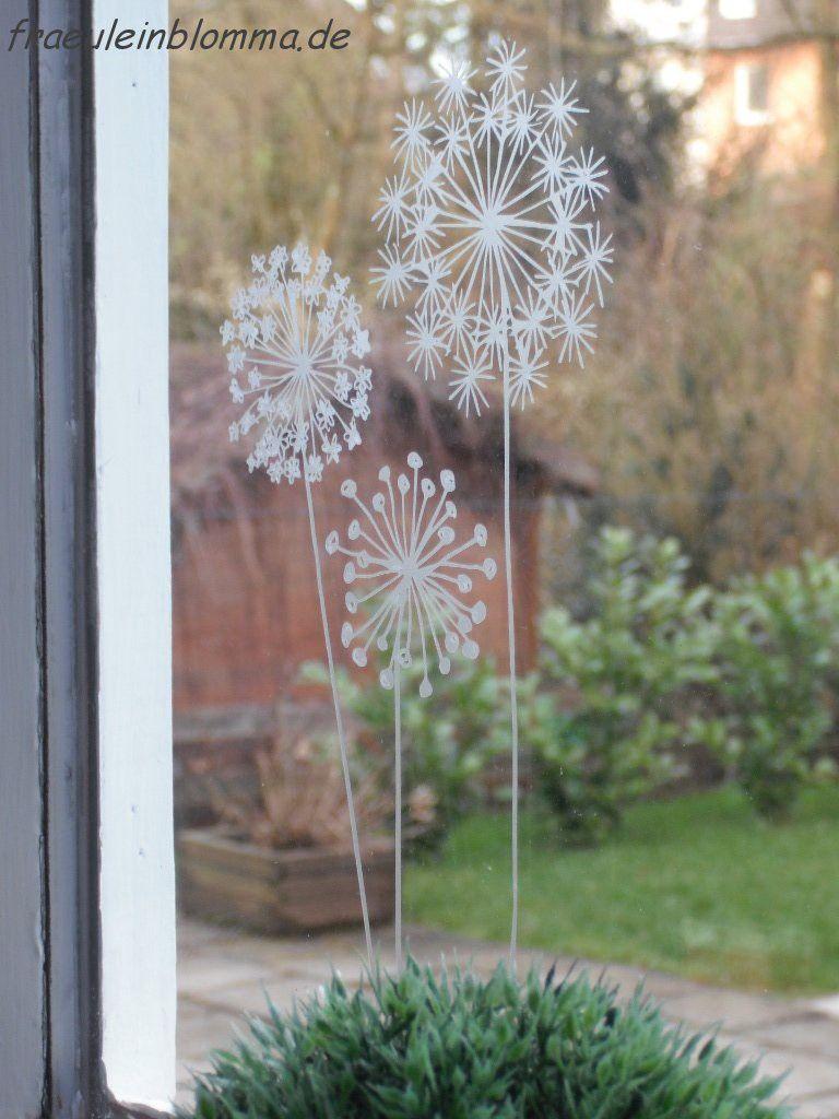 flowers 2 ozdoby fenster kunst fensterbilder fr hling. Black Bedroom Furniture Sets. Home Design Ideas