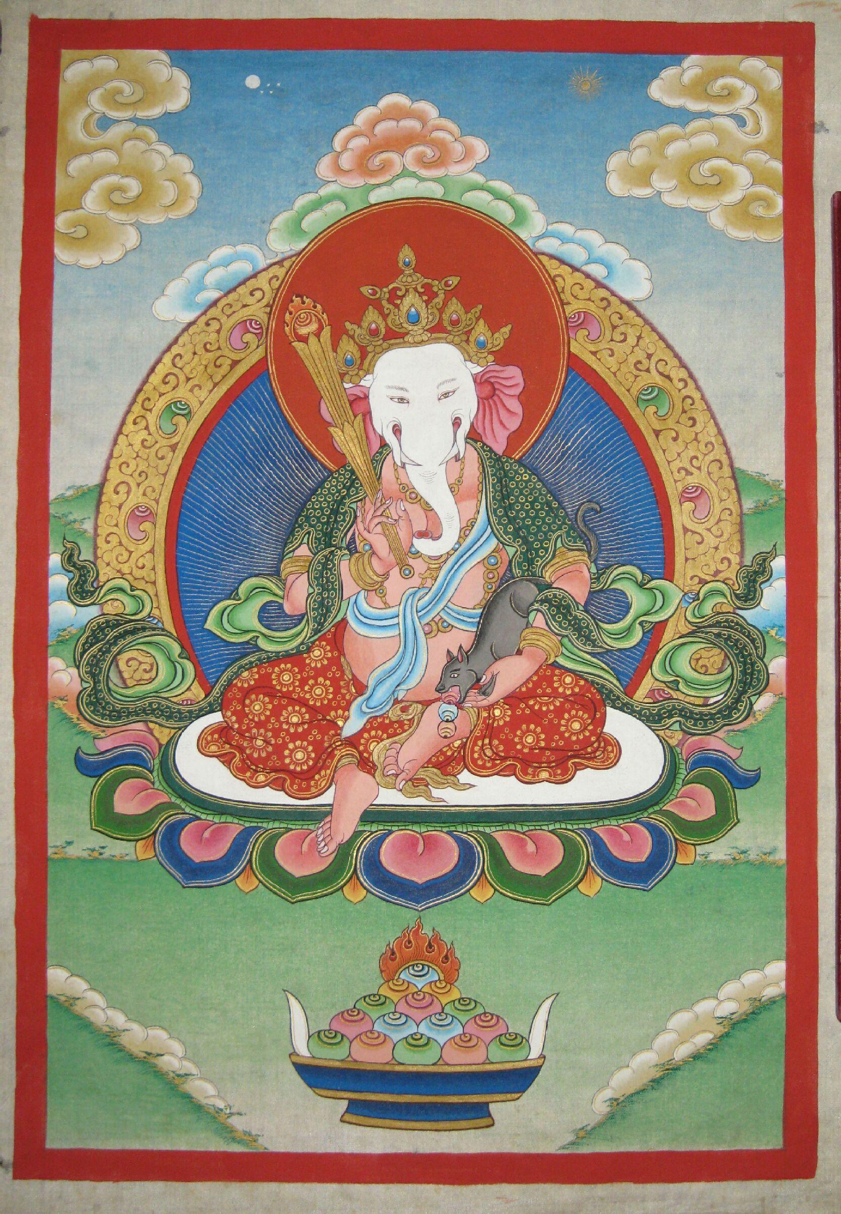 Ganesha,Ganapati,Tibetan Thanka, Nepal.   Buddhist art, Buddhism art,  Tibetan art